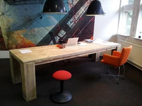 Kantoorinrichting bureau s computer tafels van steigerhout u leo s